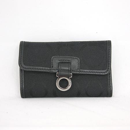 Ferragamo(페라가모) 22 6744 블랙 간치니로고 패브릭 6키홀더 지갑