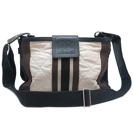 Chanel(샤넬) 브라운 패브릭 3색 스티치 숄더겸 클러치백