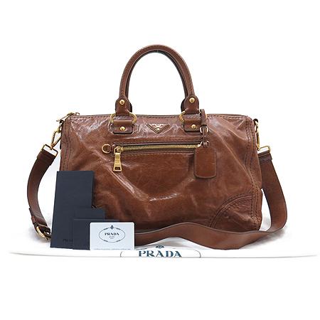 Prada(프라다) BL0678  금장 로고 장식 브라운 레더 짚업 포켓 2WAY [명동매장]