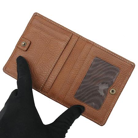MULBERRY(멀버리) 브라운 레더 금장 메탈 로고 장식 명함 반지갑