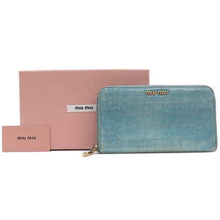 MiuMiu(미우미우) 5M0506 크로커다일 패턴 금장 로고 장식 지퍼 장지갑