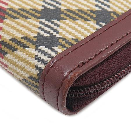 DAKS(닥스) 로고 플레이트 PVC 와인 컬러 래더 트리밍 짚업 장지갑