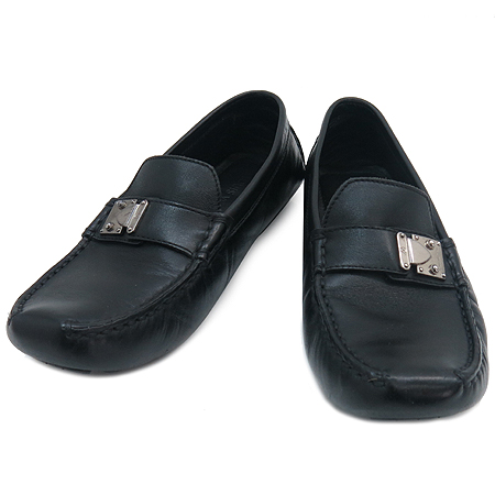 Louis Vuitton(루이비통) 은장 장식 블랙 레더 드라이빙 로퍼