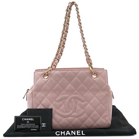 Chanel(샤넬) COCO로고 캐비어스킨 정방 금장 체인 숄더백