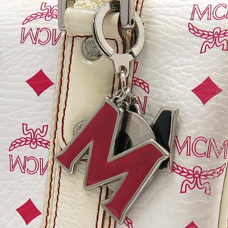 MCM(엠씨엠) 1011072310822 비세토스 핑크 화이트 애나멜 혼방 은장로고 보스톤 토트백