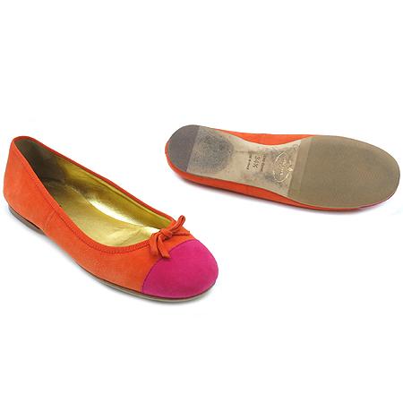 Prada(프라다) 리본 장식 오렌지 컬러 스웨이드 여성용 플랫 슈즈 이미지2 - 고이비토 중고명품