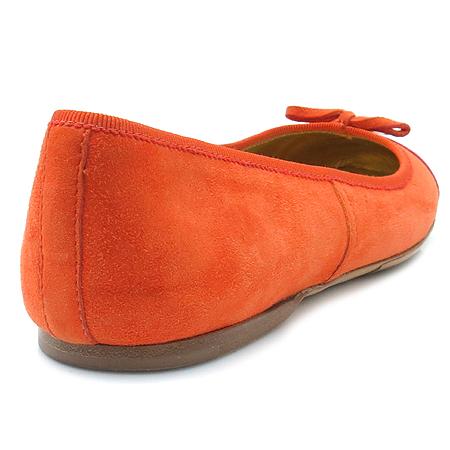 Prada(프라다) 리본 장식 오렌지 컬러 스웨이드 여성용 플랫 슈즈