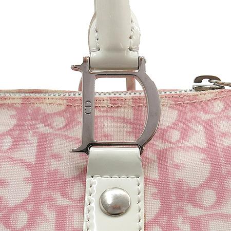 Dior(크리스챤디올) 로고 패턴 PVC 에나멜 트리밍 25 사이즈 보스턴 토트백