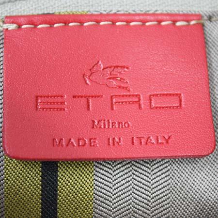 Etro(에트로) 1C676 2063 C800 페이즐리 PVC 아이보리 레더 트리밍 패브릭 핸들 토트백