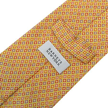 Barneys newyork(바니스 뉴욕) 미니 스퀘어 패턴 옐로우 컬러 100% 실크 넥타이