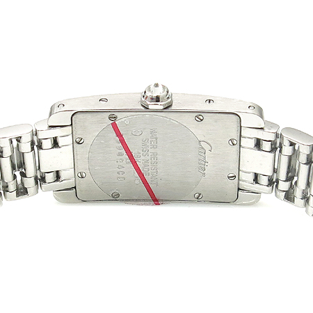 Cartier(까르띠에) WB7044MP 18K 화이트골드 금통 아메리칸 탱크 베젤 / 브레이슬릿 다이아 세팅 쿼츠 여성용 시계