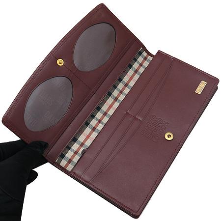 DAKS(닥스) 금장 로고 장식 PVC 체크 와인 래더 트리밍 장지갑