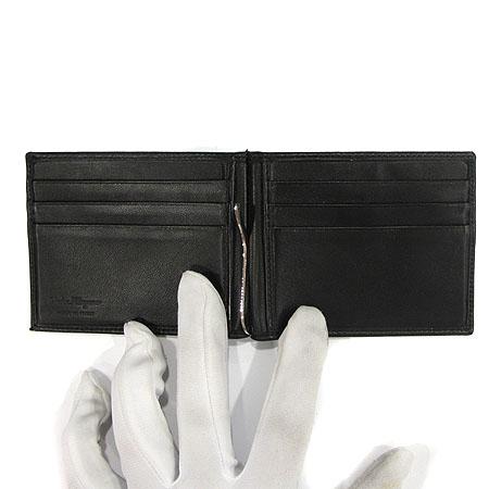 Ferragamo(페라가모) 66 9126 은장 로고 장식 블랙 레더 머니클립