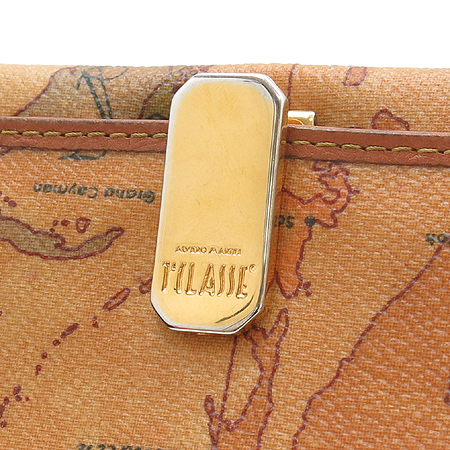 ALVIERO MARTINI(알비에로 마르티니) 금장 로고 클립 장식 PVC 장지갑