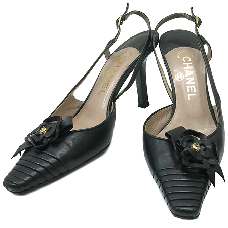 Chanel(샤넬) 블랙 까멜리아 장식 여성용 샌들