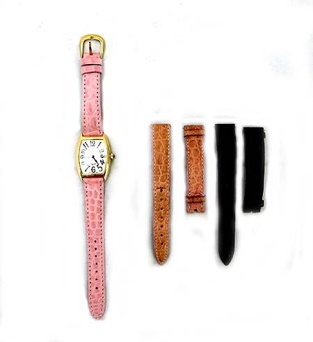FRANCK MULLER(프랭크 뮬러) 1752QZ 18K 금통 CURVEX(커벡스) 가죽 밴드 여성용 시계