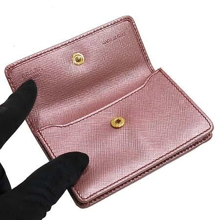 Prada(프라다) 금장 로고 장식 핑크 사피아노 카드지갑
