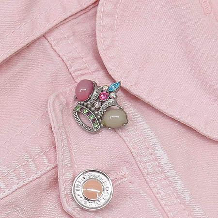 OLIVE DES OLIVE(올리브데올리브) 핑크 데님 자켓 (브로치SET)