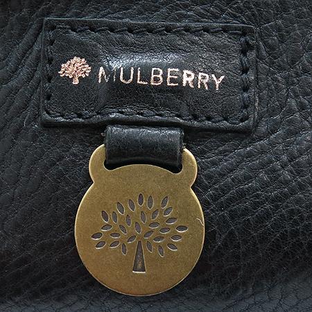 MULBERRY(멀버리) 블랙 레더 버클 장식 토트백