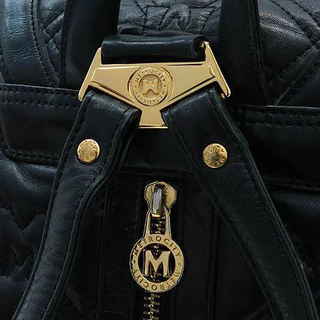 Metrocity(메트로시티) 금장 로고 장식 블랙 래더 퀼팅 백팩