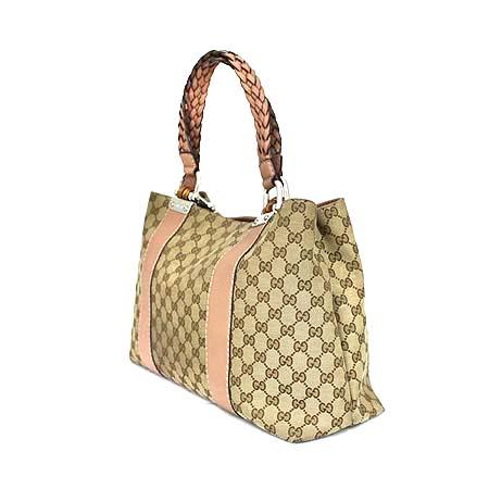 Gucci(구찌) 232947 GG로고 자가드 핑크 레더 트리밍 뱀부 장식 토트백 [명동매장]