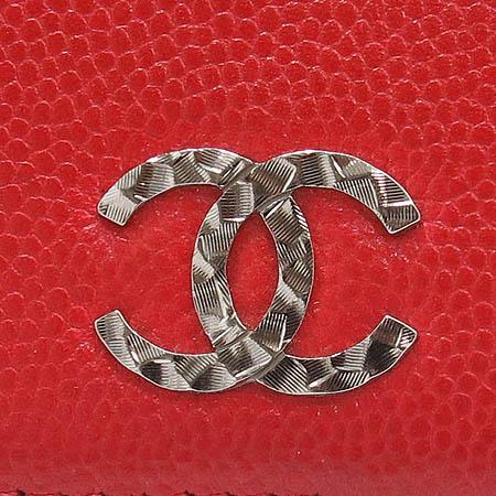 Chanel(샤넬) 레드 캐비어 스킨 은장 COCO로고 장지갑 [대구반월당본점]