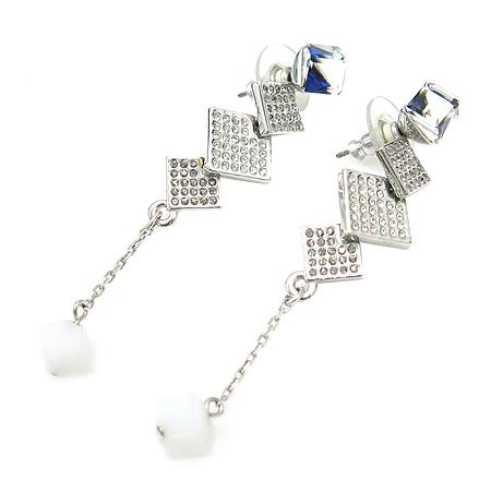 Swarovski(스와로브스키) 935376 크리스탈 장식 사각 드롭 귀걸이 [부산본점]