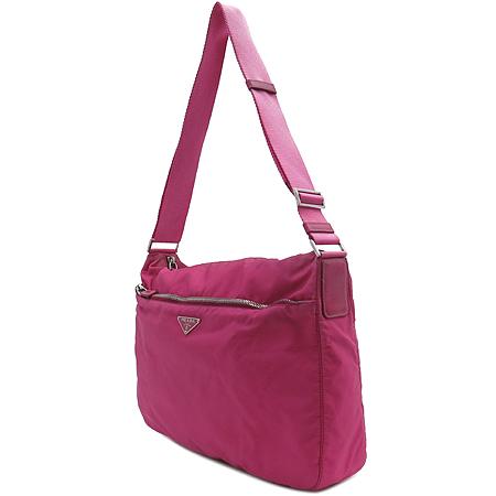 Prada(프라다) 삼각 로고 장식 핑크 패브릭 크로스백