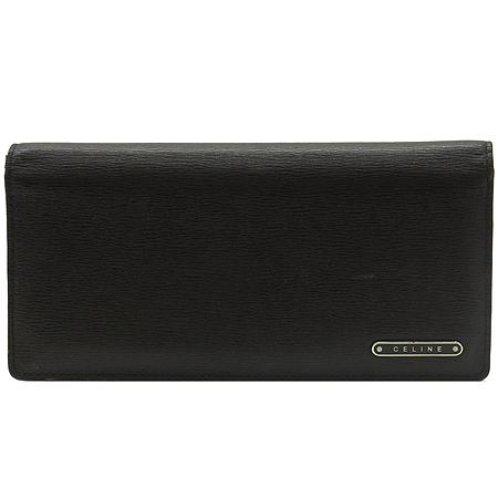 Celine(셀린느) 로고 장식 다크 브라운 레더 장지갑