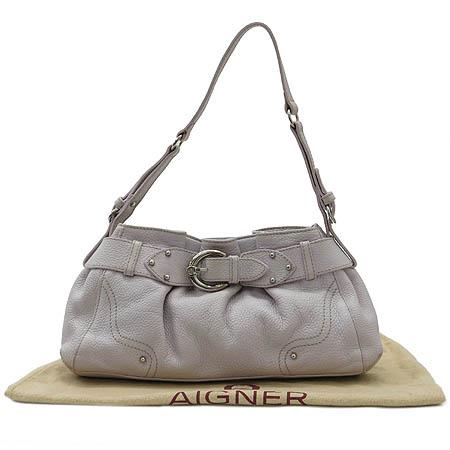 Aigner(아이그너) 그레이 래더 벨트 장식 토트백
