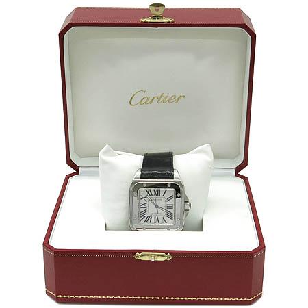 Cartier(까르띠에) W20073X8 산토스 100 L사이즈 스틸 오토매틱 가죽밴드 남성용 시계 [명동매장]