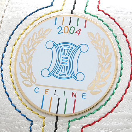 Celine(셀린느) 아테네 올림픽 기념 화이트 패브릭 래더 토트백