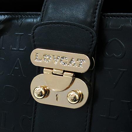 LOVCAT(러브캣) 금장 로고 장식 블랙 레더 토트백
