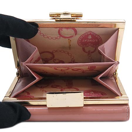 LOVCAT(러브캣) 로고 크리스탈 장식 에나멜 3단 반지갑