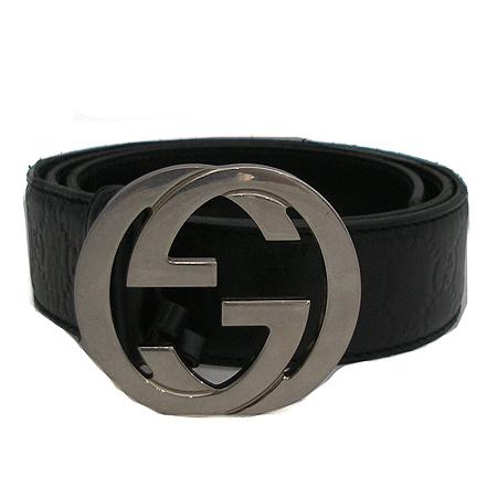 Gucci(구찌) 114984 은장 로고 버클 GG로고 블랙 시마 레더 벨트