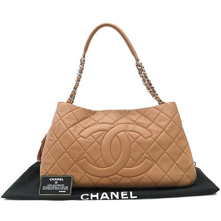 Chanel(샤넬) COCO로고 측면 지퍼 장식 소프트 캐비어 은장 체인 숄더백