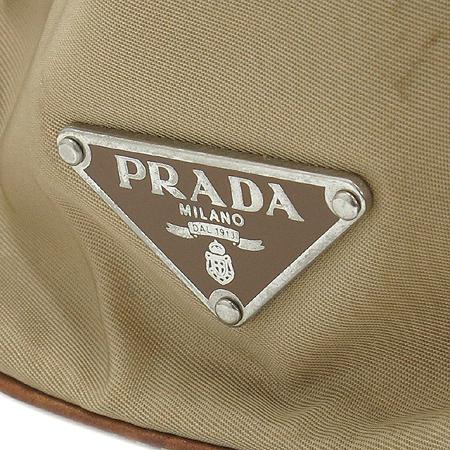 Prada(프라다) 베이지 레더 버클 장식 패브릭 토트백