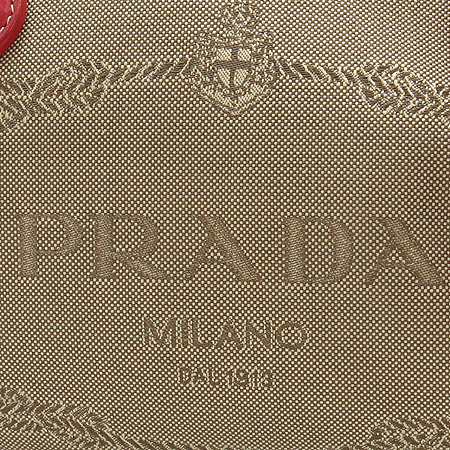 Prada(프라다) 밀라노 레드 레더 스티치 패브릭 보스톤 토트백