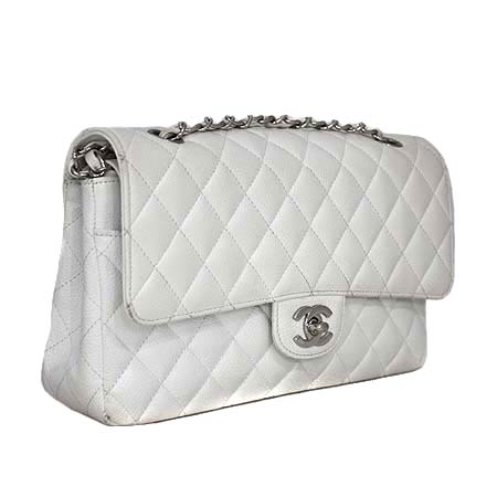 Chanel(샤넬) A0112 화이트 캐비어 스킨 클래식 M사이즈 은장로고 체인 숄더백 [동대문점]