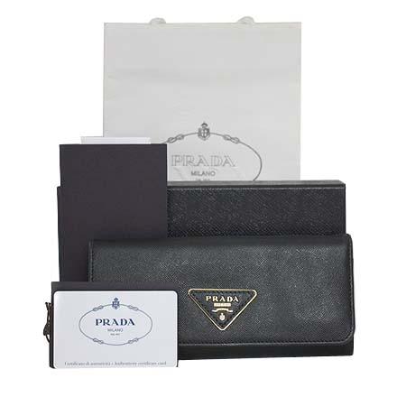 Prada(프라다) 1M1132 SAFFIANO TRIANG NERO 사피아노 블랙 금장 삼각로고 장지갑 [명동매장]