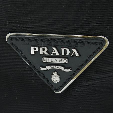 Prada(프라다) 패브릭 블랙 링클 레더 트리밍 은장버클 2WAY