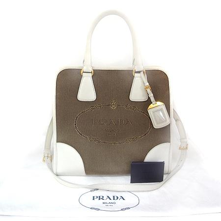 Prada(프라다) BN2254 빅 로고 장식 자가드 사피아노 레더 트리밍 2WAY [일산매장]