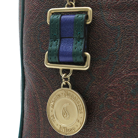 Etro(에트로) 1C324 금장 페가수스 로고 메달 장식 페이즐리 PVC 보스턴 토트백
