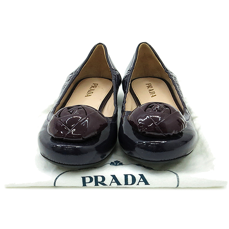Prada(프라다) 퍼플 페이던트 플라워 장식 여성 플랫 슈즈