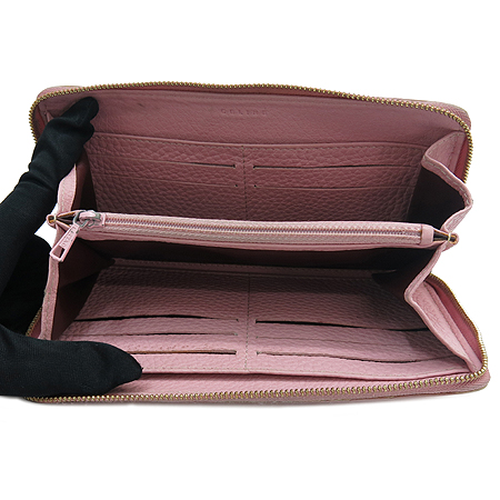 Celine(셀린느) 핑크 컬러 레더 집업 장지갑