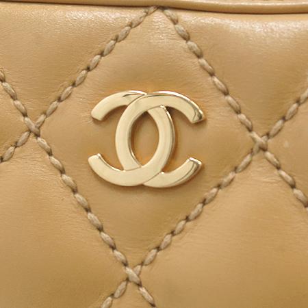 Chanel(샤넬) 금장 COCO로고 베이지 레더 퀼팅 스티치 스퀘어 토트백 이미지3 - 고이비토 중고명품