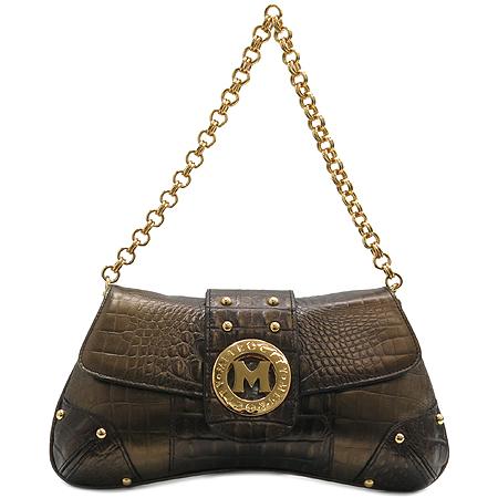 Metrocity(메트로시티) 금장 로고 장식 크로커다일 패턴 금장 체인 숄더백