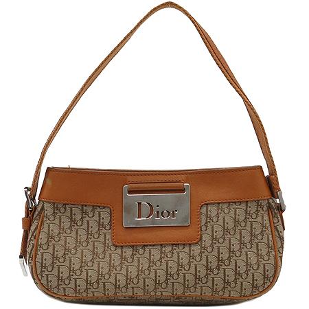 Dior(크리스챤디올) 은장 로고 장식 브라운 레더 트리밍 자갸드 토트백