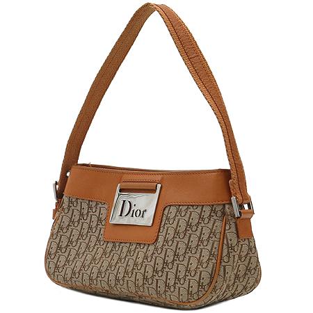 Dior(크리스챤디올) 은장 로고 장식 브라운 레더 트리밍 자갸드 토트백 이미지3 - 고이비토 중고명품