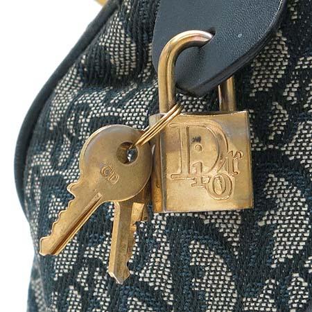 Dior(크리스챤디올) 금장 로고 장식 데님 미니 보스턴 토트백